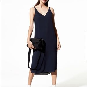Aritzia Babaton Navy Blue Midi Dress